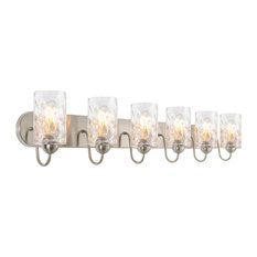 "Kira Home Armada II 48"" Bathroom Light, Hammered Glass Shades, Brushed Nickel"
