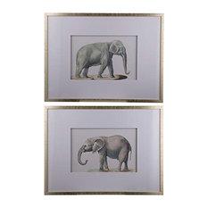 Fake Elephant Wall Art Pencil Drawings 24x32, Set of 2