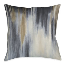 """Laural Home Blue and Brown Paysage Outdoor Decorative Pillow, 18""""x18"""""""