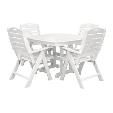 Polywood Nautical 5-Piece Dining Set, White