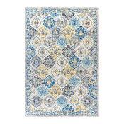 "Modern Persian Boho Vintage Trellis Blue and Multi 3'x5' Area Rug, 7'9""x"
