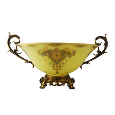 Round Glass Bowl Centerpiece Cream Colored With Handles