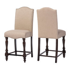 Zachary French Vintage Counter Height Dining Chairs, Set of 2, Brown, Beige
