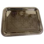 """Marrakesh Tea Time - Marrakesh Tea Time Moroccan Engraved Silver Serving Tray Rectangle 16"""" X 12"""" - Moroccan Tea Silver Tray Engraved Arabic Pattern Design Rectangular 16"""" x 12"""""""