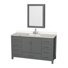 Sheffield 60-inch Dark Gray SGL Vanity Calacatta Quartz TopSquare SinkMed Cabinet