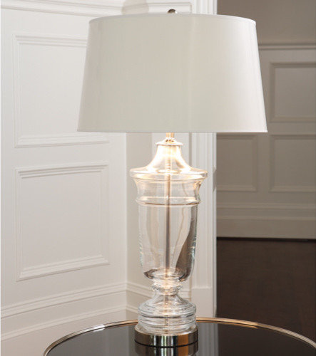 glass urn table lamp with nickel finish base table lamps. Black Bedroom Furniture Sets. Home Design Ideas