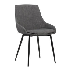 Armen Living Mia Contemporary Dining Chair Charcoal Fabric With Black Powder