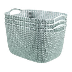 Curver by KNIT Style Resin Rectangular 3-Piece Large Basket Set