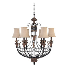 Nuvo 6-Light Gilded Cage Chandelier With Maple Wood Shades