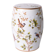 White Garden Stool with Floral and Bird Motif