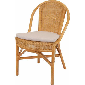Contemporary Rattan Dining Chair With Cushioned Seat, Natural Honey Finish