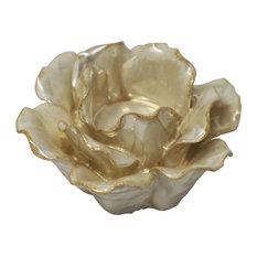 """Sagebrook Home Ceramic 4.5"""" Rose Tealight Holder, Pearl Candle holder"""