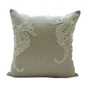 "Sea Horse Beige Cotton Linen 18""x18"" Pillow Covers, Sea Horse Pearls"
