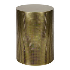 Orelia Modern Gold Brass Metal Mesh Drum Side Table, 26.5H   Side Tables
