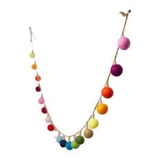 "Serene Spaces Living 72"" Multicolor Lightbulb Wool Pom Pom Garland for Holidays"