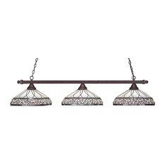 "Square 3 Light Bar In Bronze, 16"" Royal Merlot Tiffany Glass"