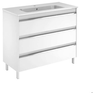 Belle 100 Complete Vanity Unit in Gloss White