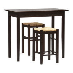 Benzara 3 Piece Wooden Counter Set with Seagrass Seat Stools, Brown and Beige
