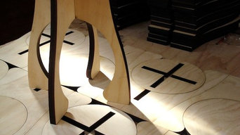 Alien laser cut plywood flat-pack stool