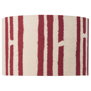 """PaperBoy Interiors """"Stripes"""" Lampshade, Stone and Red, Floor or Table Fitting"""