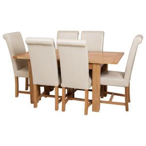 Hampton Oak Extending Dining Table, 6 Washington Chairs, Ivory Leather