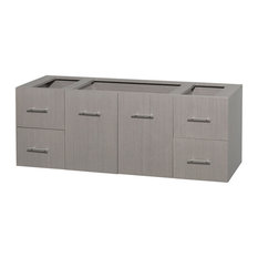 "Centra 60"" Single Gray Bathroom Vanity Oak, No Top, No Sink, and No Mirror"