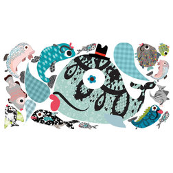 Luxury Contemporary Wall Decals Fabric Decals Fanciful Fishes