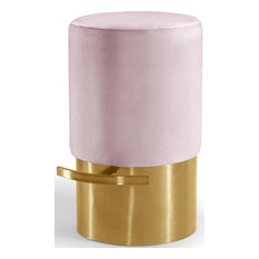 Liv Velvet Bar Stool Pink Gold Base