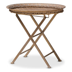 Sabah Moroccan Inspired Foldable Accent Tray Table, Antique Gold