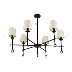 Canyon Home 6 Shade Chandelier Light Bamboo Lampshades and Matte Black Steel