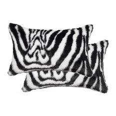 12' X 20' Faux 2-Pack Pillow, Denton Zebra Black & White