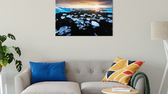 Fire and Ice Black Sand Sunset Coastal Landscape Canvas Fine Art Prints