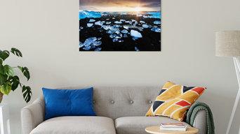 Fire and Ice Black Sand Sunset Coastal Landscape Canvas Fine Art Prints