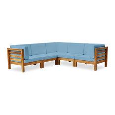 GDF Studio Dawson Outdoor 5-Seater V-Shaped Acacia Wood Sectional Set, Teak/Blue