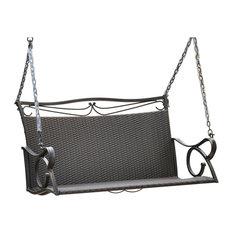 Valencia Resin Wicker/ Steel Hanging Loveseat Swing, Antique Black