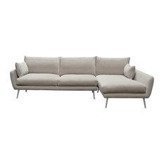 Diamond Sofa Vantage RF Sectional, Light Flax Fabric and Brushed Metal Legs