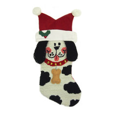 glitzhome 22 hooked christmas stocking with 3 d dog christmas stockings and - Modern Christmas Stockings