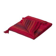 Novica Red Butterfly Alpaca Blend Throw Blanket