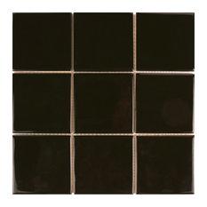 SomerTile Twist Square Ceramic Wall Tile, Case of 90, Black Olive