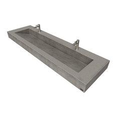 "72"" ADA Floating Concrete Ramp Sink, Charcoal"