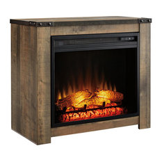 Fireplace Mantel With Fireplace Insert, Brown