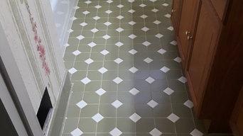 Before (bathroom floor tile)