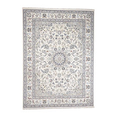 Wool And Silk 250 Kpsi Ivory Nain Hand-Knotted Oriental Rug, 9'x12'1""