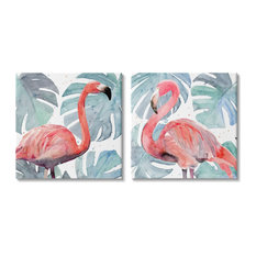 Tropical Flamingos with Green Monstera Plants2-Piece, 17x17