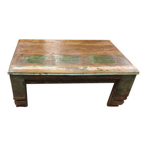 Mogul Interior - Consigned Antique Low Floor Corbels Coffee Table, Chai Table Rustic Furniture - Coffee Tables