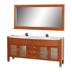 Double Bathroom Vanity, Countertop, White Integral Sinks, Mirror, Cherry, 71""