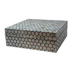 """Luxe Mother of Pearl Inlaid Box 13"""" Honeycomb, Blue White"""