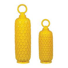 Lidded Ceramic Jars, Sunshine Yellow, 2-Piece Set