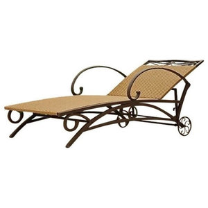 Pemberly Row Patio Chaise Lounge, Honey Pecan