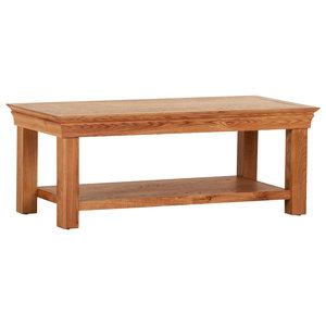 French Oak Coffee Table With Magazine Shelf
